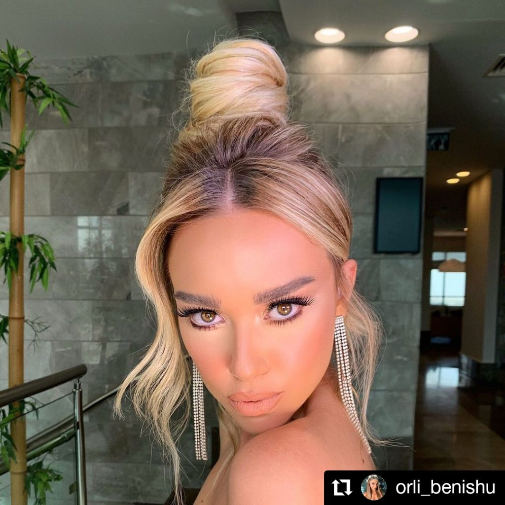 Topknot with bangs