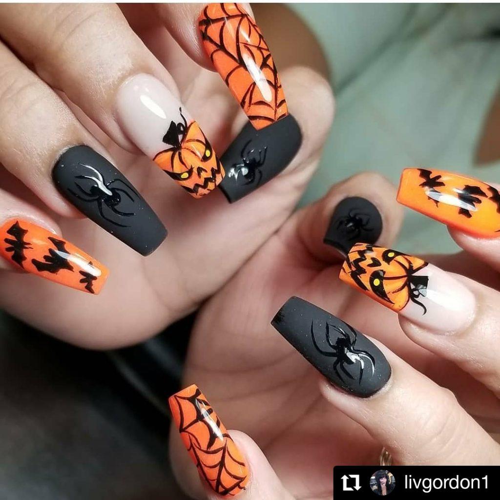 Scary Pumpkin Halloween Nail Look